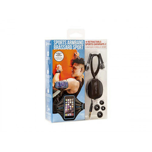 Blue Smart Phone Armband with Retractable Sports Wrap Earbud