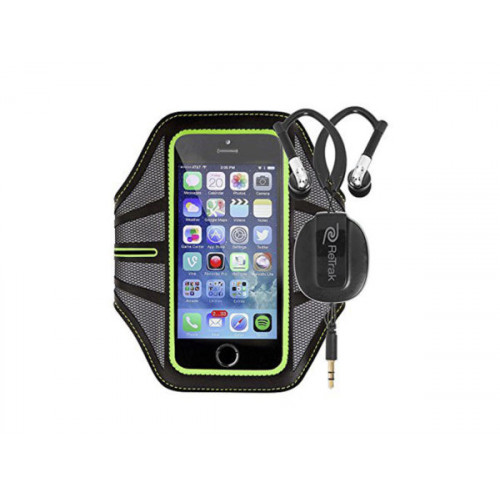 Green Smart Phone Armband with Retractable Sports Wrap Earbu