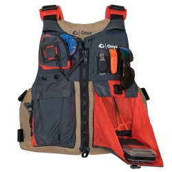 Onyx Kayak Fishing Vest - Adult Universal - Tan/Grey