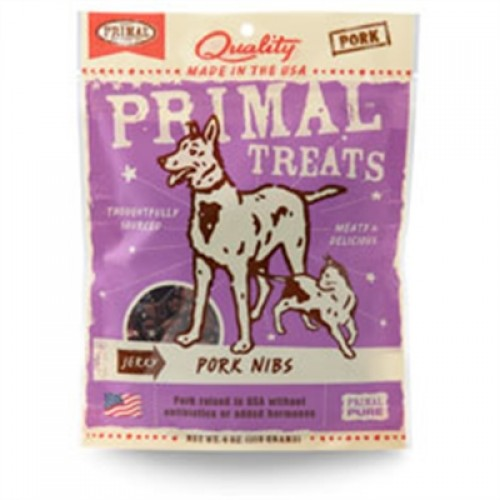 Primal Jerky Pork Nibs Dog and Cat Treats 4 oz